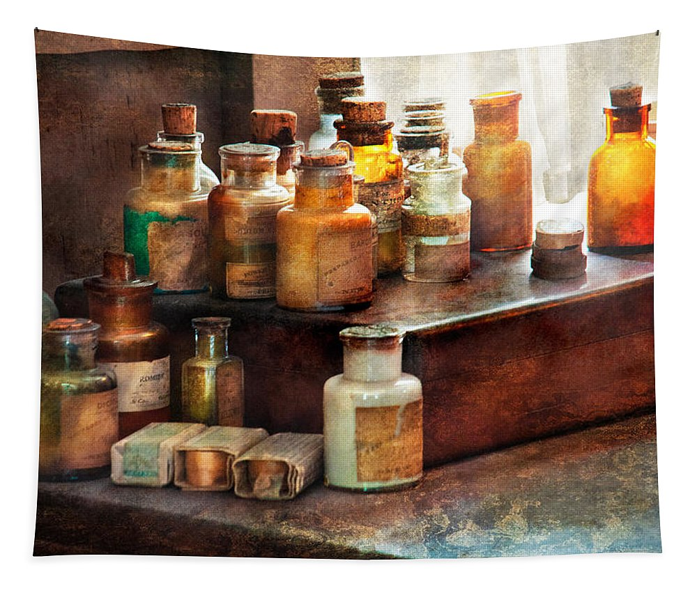 Uburbanscenes Tapestry featuring the photograph Apothecary - Chemical Ingredients by Mike Savad