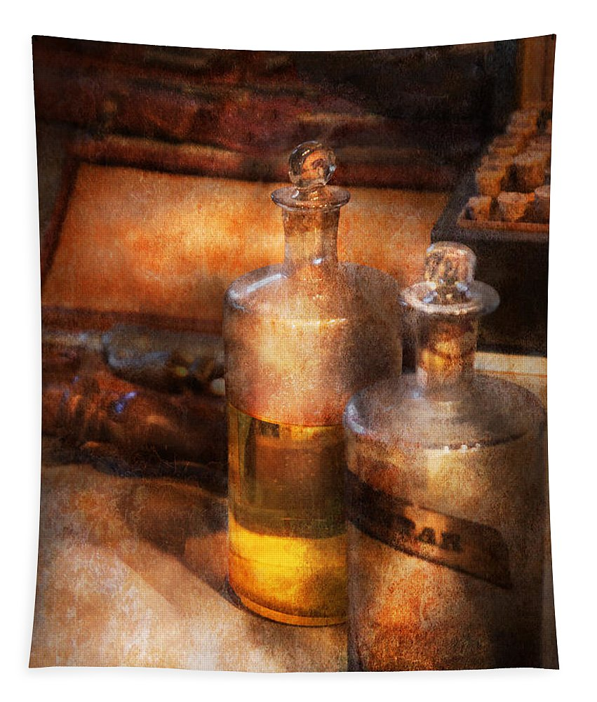 Suburbanscenes Tapestry featuring the photograph Apothecary - Special Medicine by Mike Savad