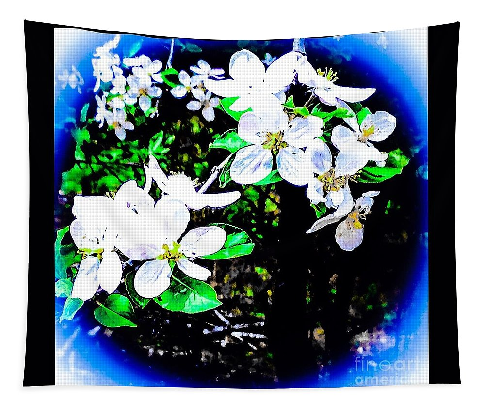 Apple Tapestry featuring the digital art Apple Blossoms In Blue White Mist by Debra Lynch