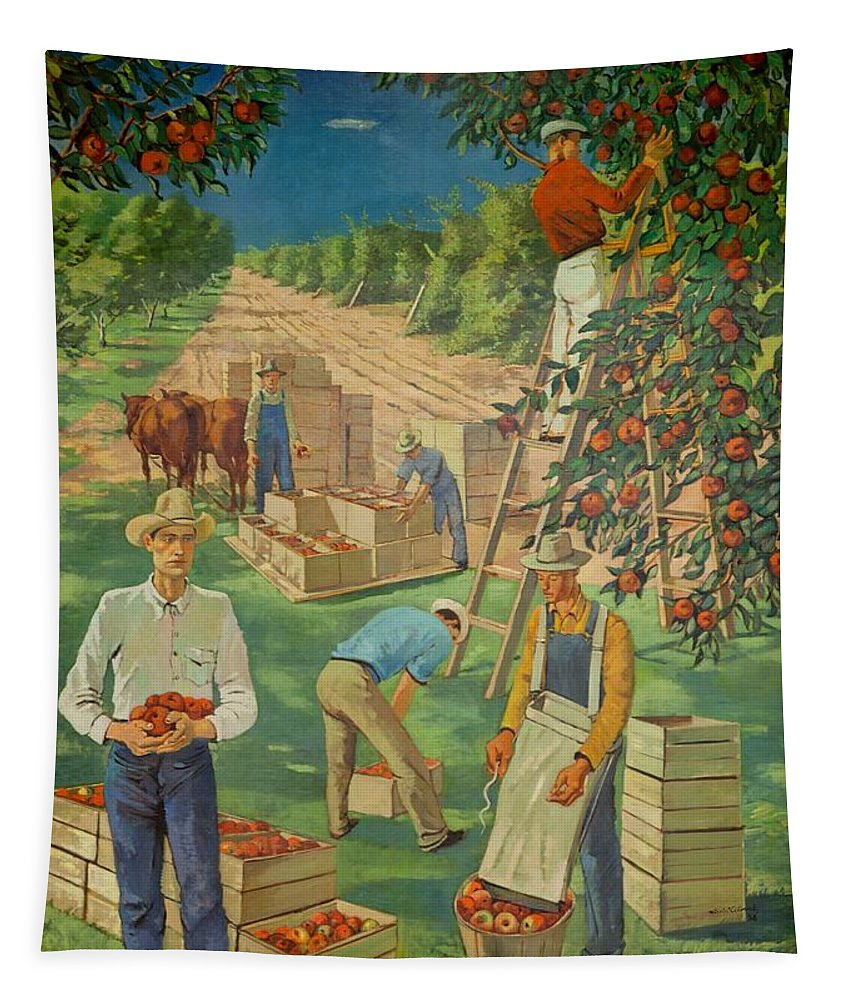 Painting Tapestry featuring the painting Apple Industry by Mountain Dreams
