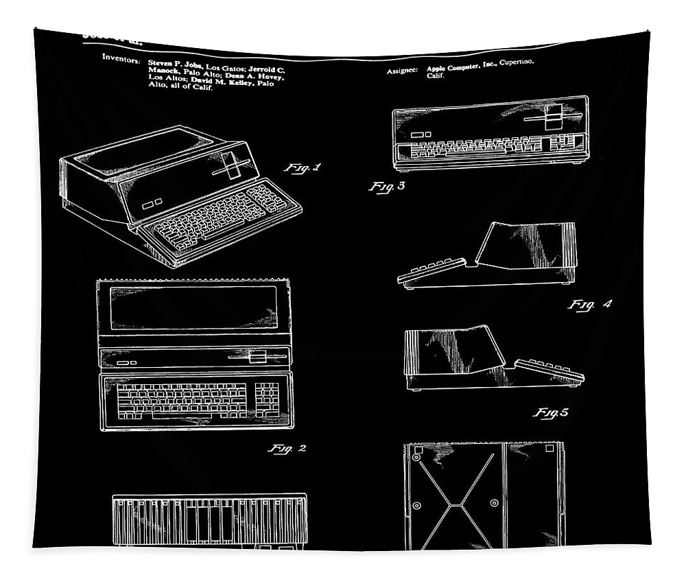 Apple Tapestry featuring the digital art Apple Macintosh Patent 1983 Black by Bill Cannon