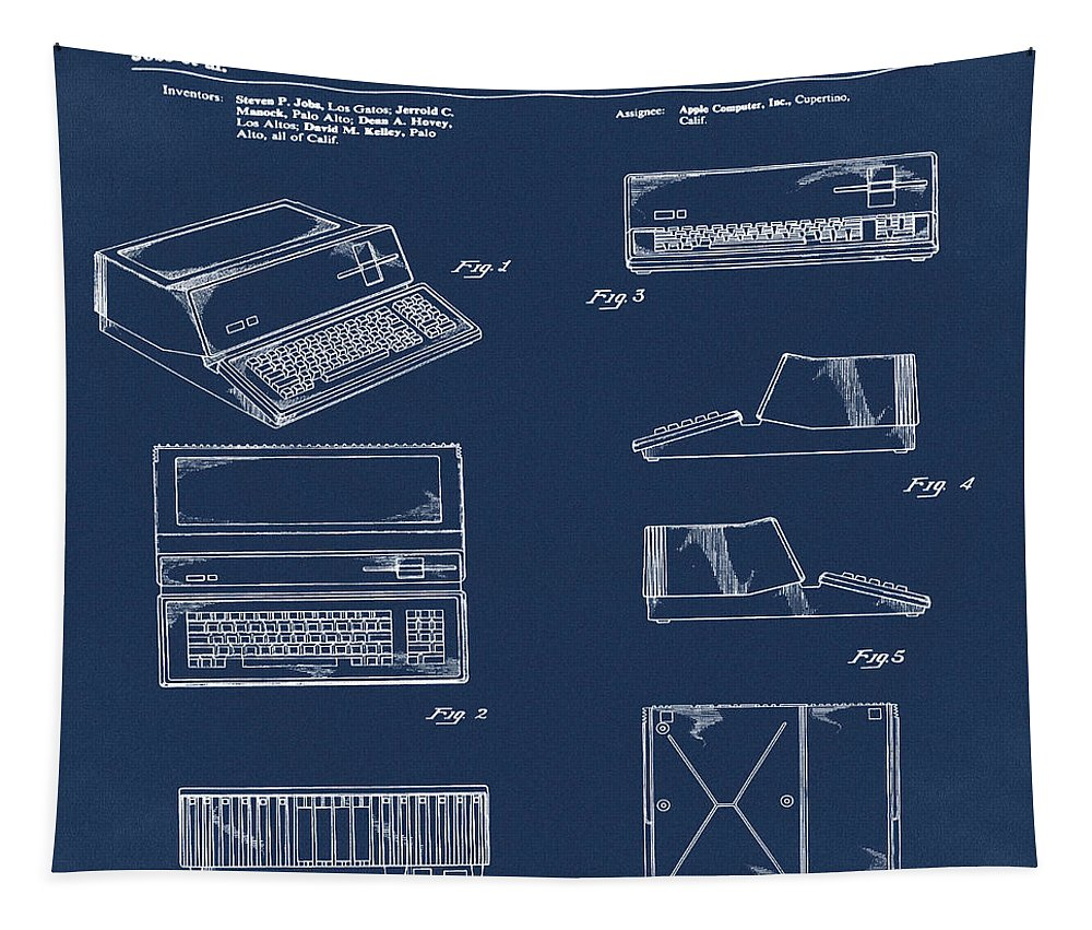 Apple Tapestry featuring the digital art Apple Macintosh Patent 1983 Blue by Bill Cannon