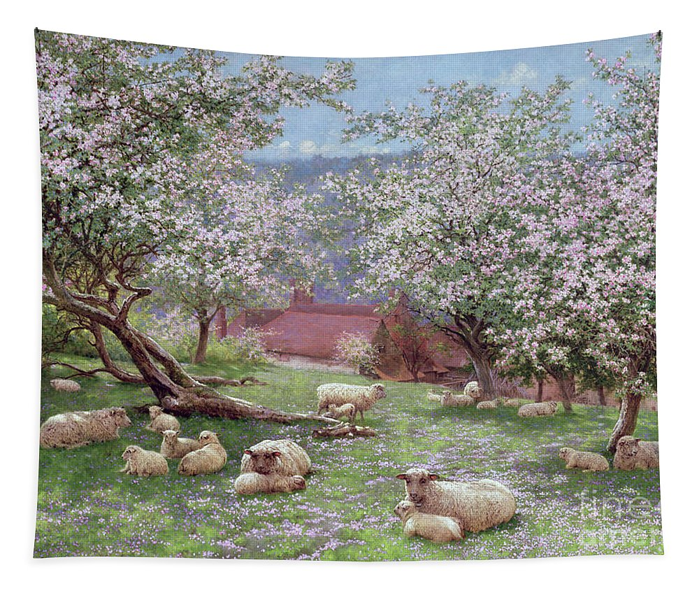 Appleblossom (w/c On Paper) By William Biscombe Gardner (1847-1919) Tapestry featuring the painting Appleblossom by William Biscombe Gardner