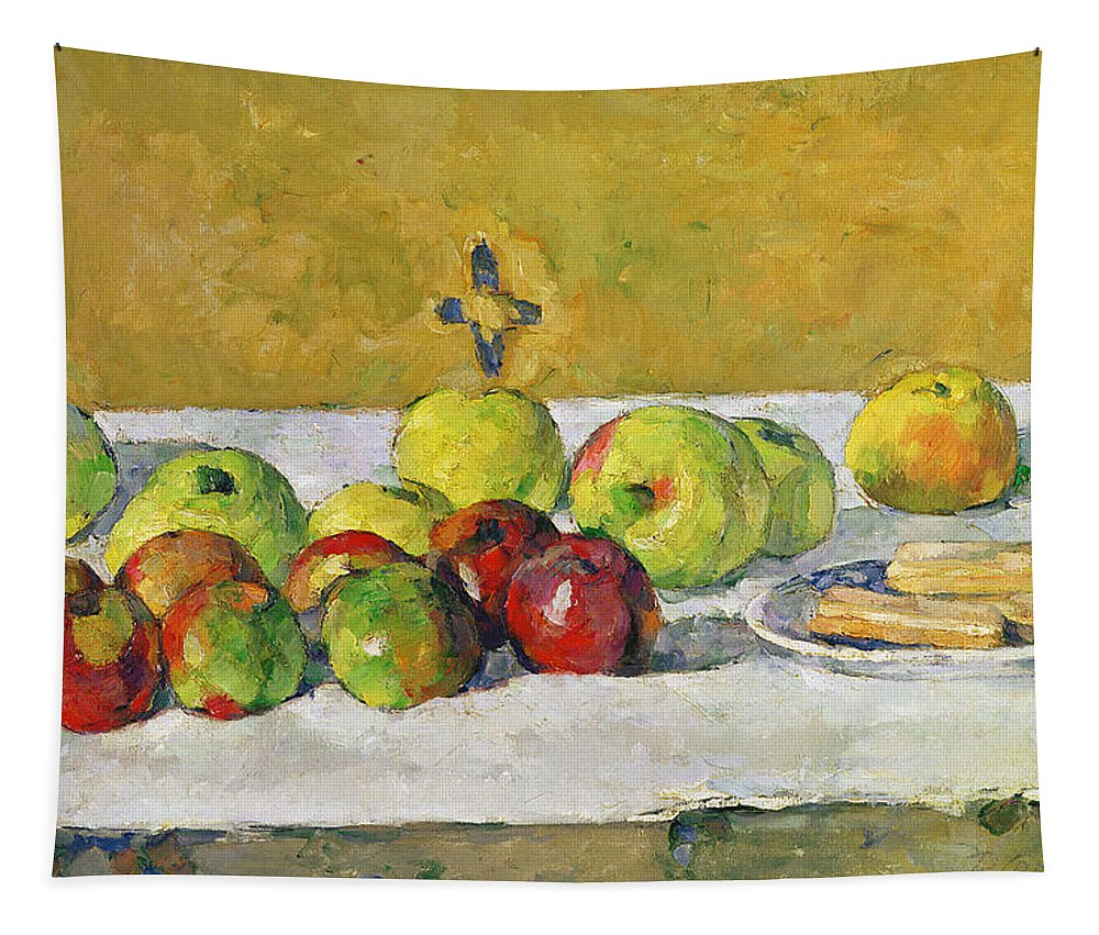 Apples Tapestry featuring the painting Apples And Biscuits by Paul Cezanne
