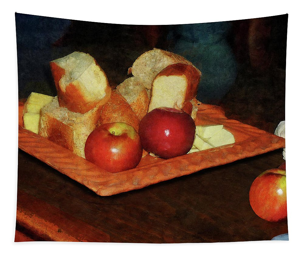 Apples Tapestry featuring the photograph Apples And Bread by Susan Savad