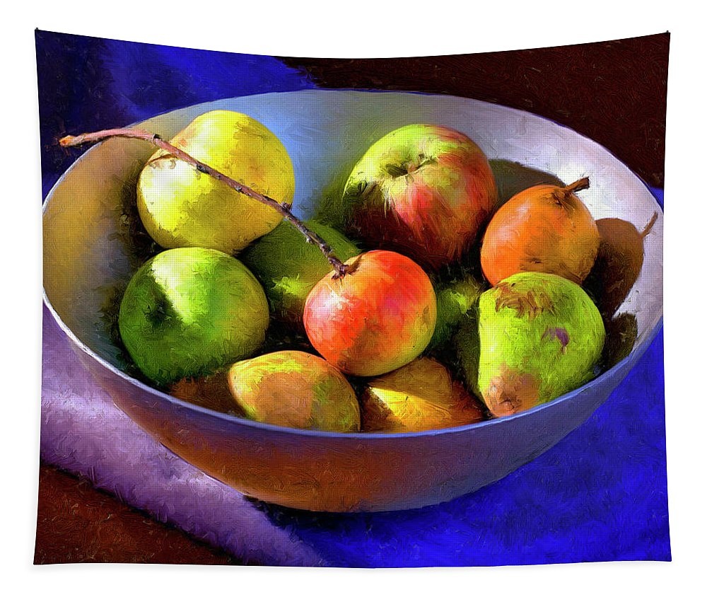 Apples Tapestry featuring the painting Apples And Pears by Dominic Piperata
