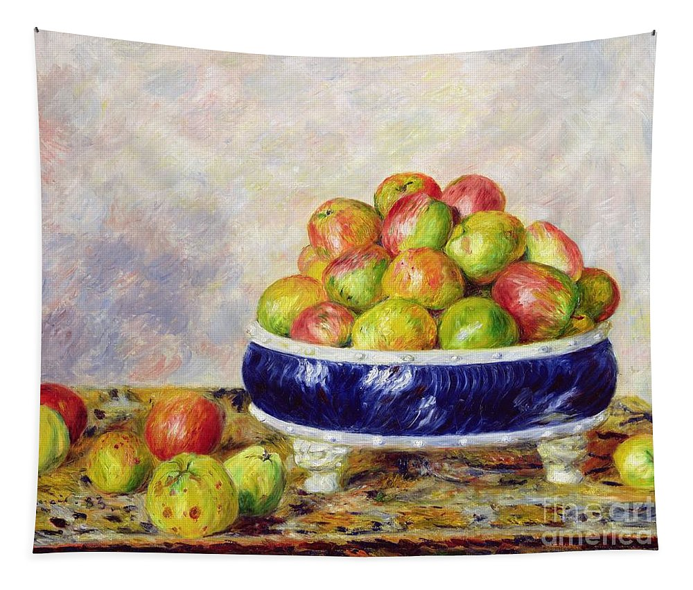 Pierre Auguste Renoir Tapestry featuring the painting Apples In A Dish by Pierre Auguste Renoir