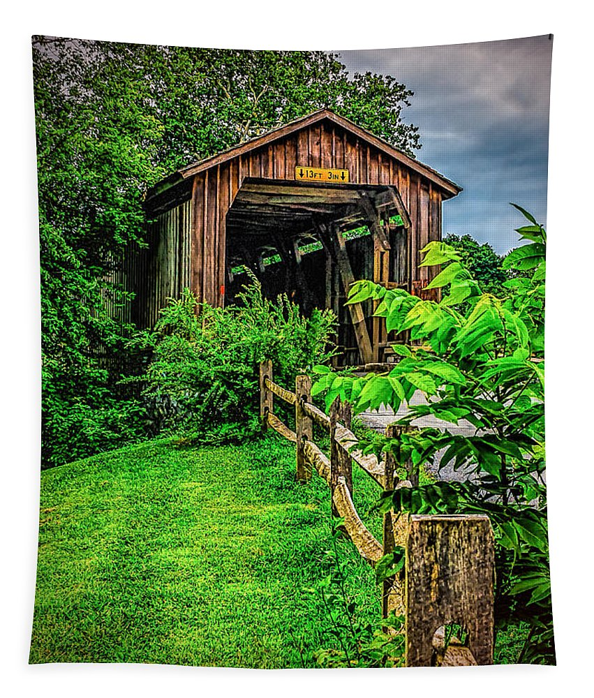 Hunseckers Tapestry featuring the photograph Approach To Hunseckers Mill Bridge by Nick Zelinsky