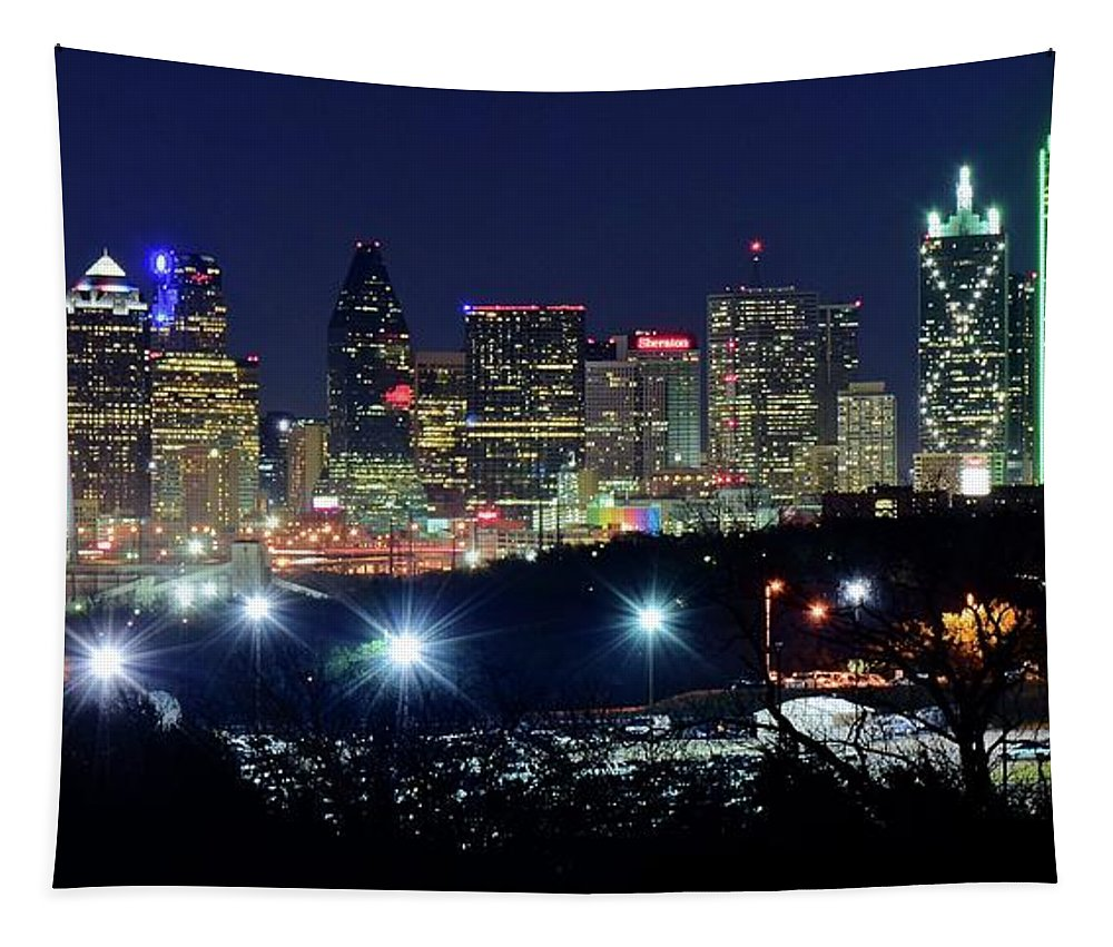 Dallas Tapestry featuring the photograph Approaching Dallas From Fort Worth by Frozen in Time Fine Art Photography