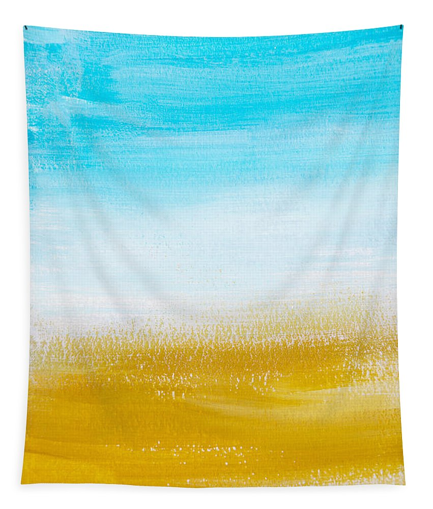 Aqua Tapestry featuring the painting Aqua Gold Abstract Painting by Christina Rollo