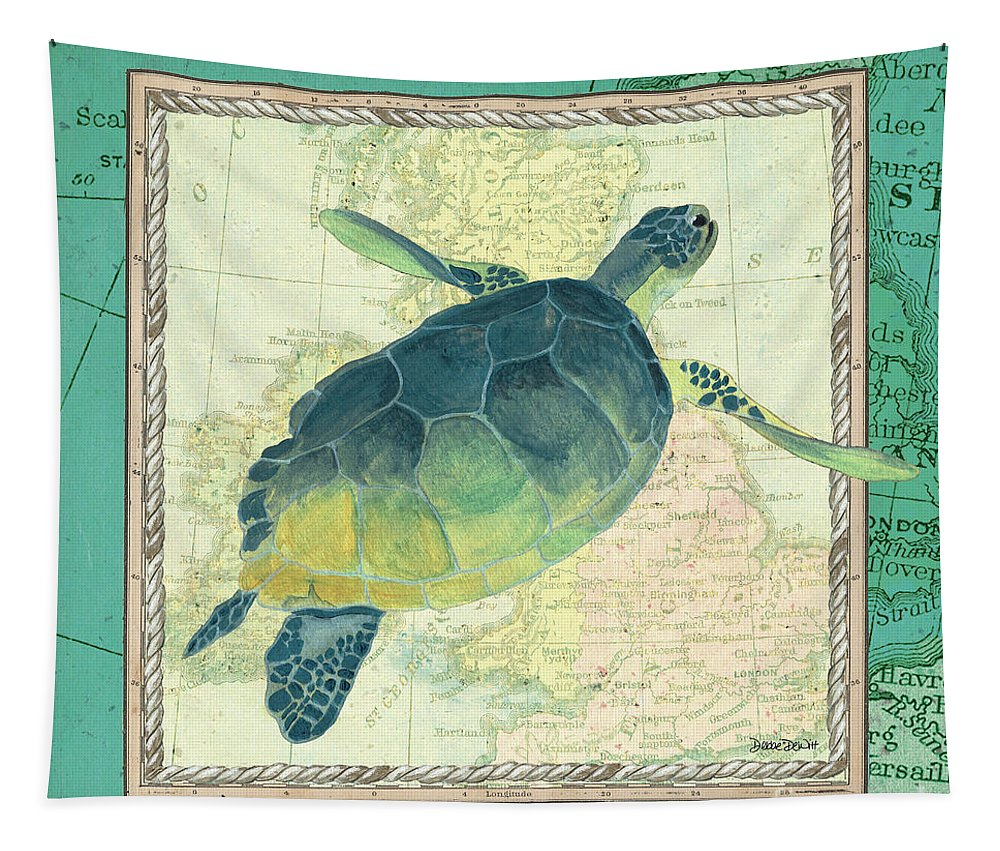 Turtle Tapestry featuring the painting Aqua Maritime Sea Turtle by Debbie DeWitt