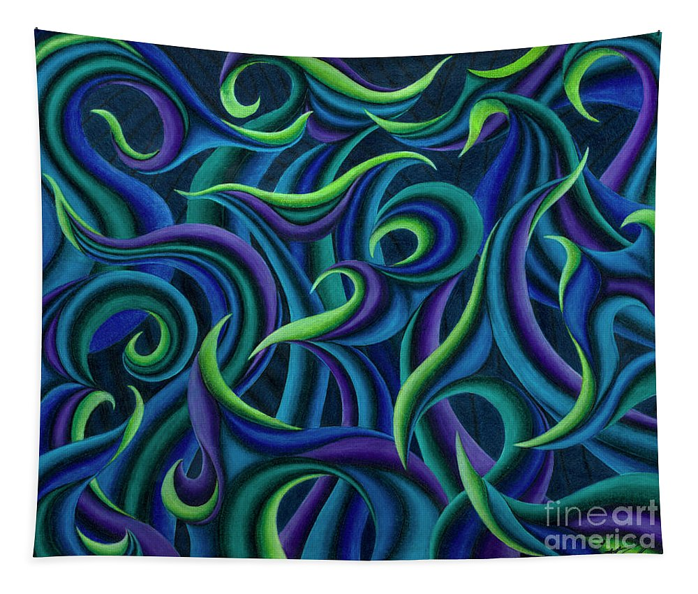Abstract Tapestry featuring the drawing Aqua Tango by Scott Brennan
