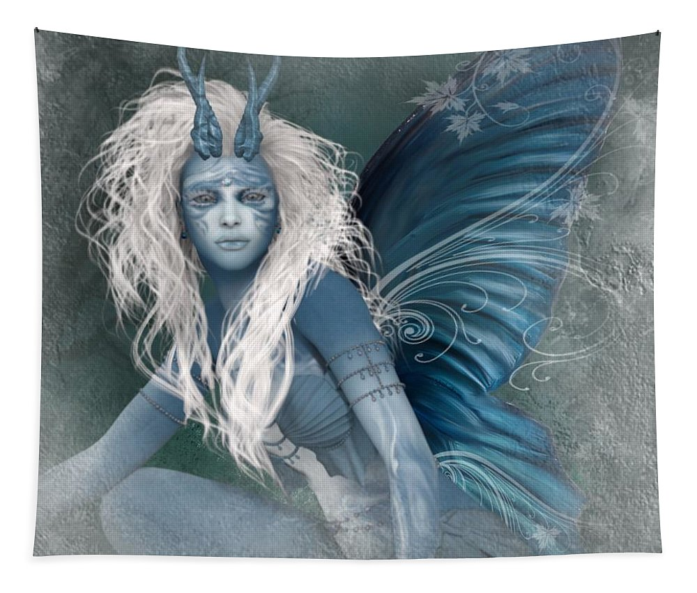 Ali Oppy Tapestry featuring the digital art Aqua The Forest Fairy2 by Ali Oppy