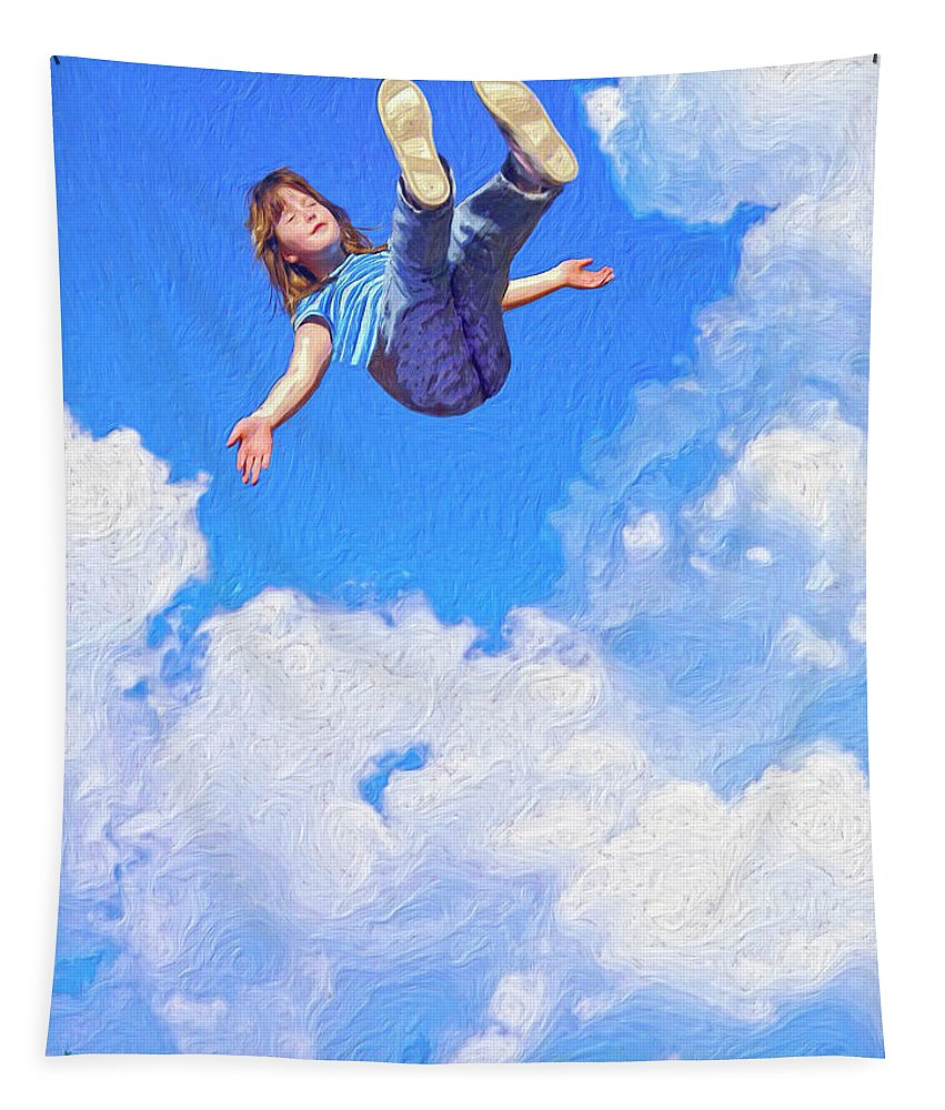 Floating Tapestry featuring the painting Aquarius Rising by Dominic Piperata
