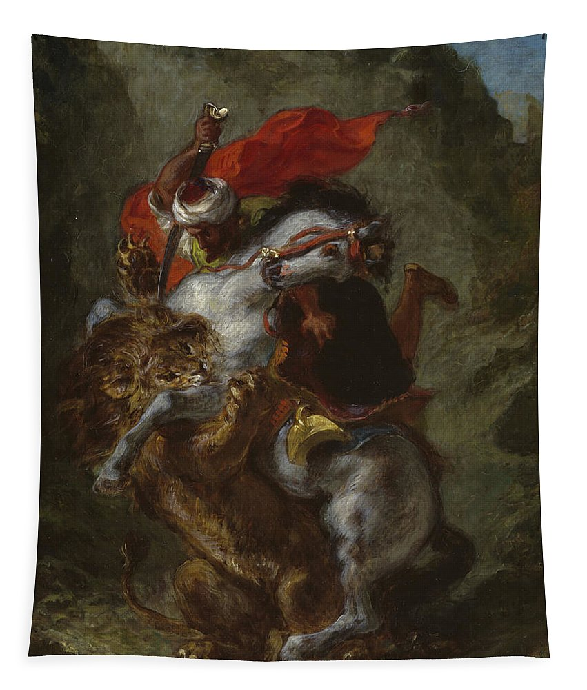 Arab Horseman Attacked By A Lion Tapestry featuring the painting Arab Horseman Attacked By A Lion by Ferdinand Victor Eugene Delacroix