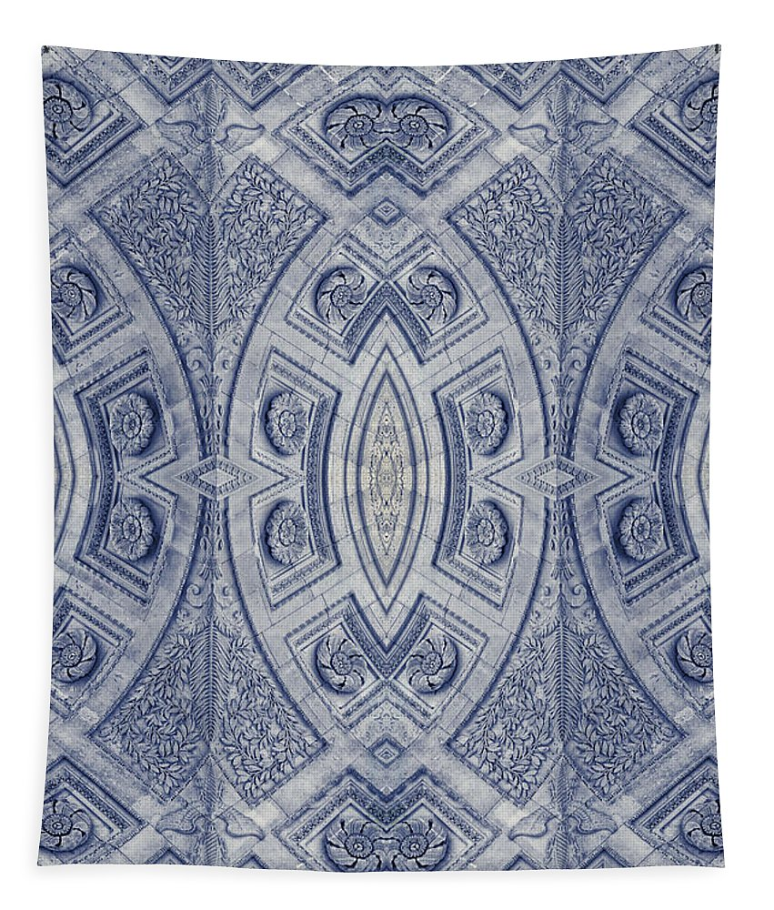 Joan Carroll Tapestry featuring the photograph Arc De Triomphe Du Carrosel Paris Kaleidoscope Vertical by Joan Carroll