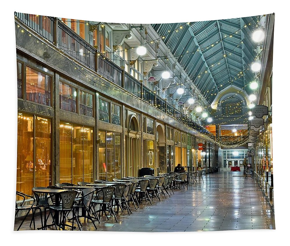 Cleveland Tapestry featuring the photograph Arcade In Cleveland by Frozen in Time Fine Art Photography