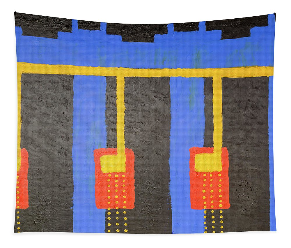 Abstract Tapestry featuring the painting Arches And Night Blooming Vine by David Brewer
