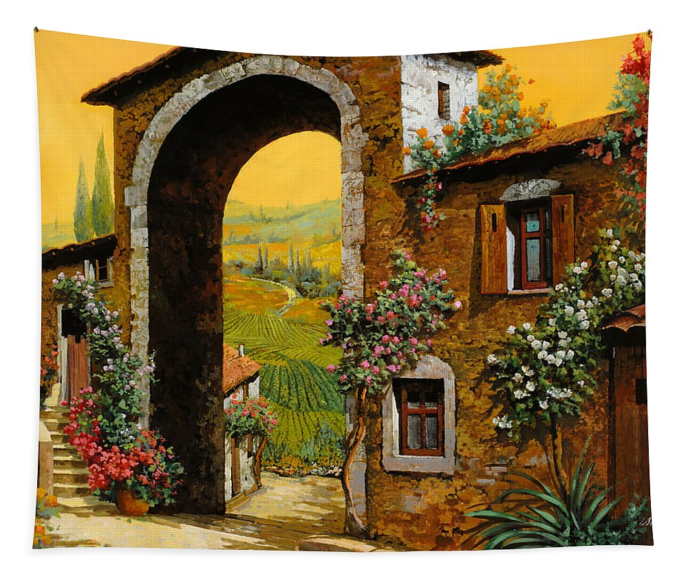 Arch Tapestry featuring the painting Arco Di Paese by Guido Borelli