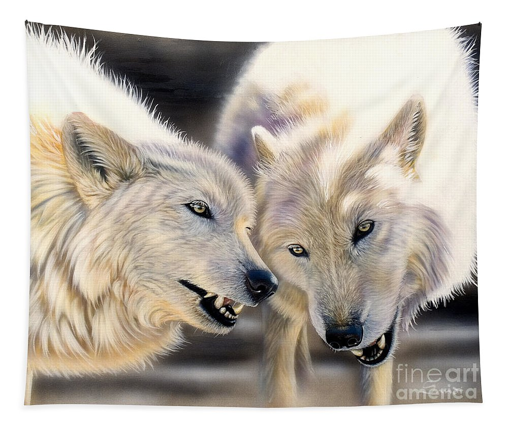 Acrylics Tapestry featuring the painting Arctic Pair by Sandi Baker