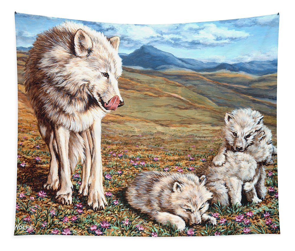 Arctic Wolf Tapestry featuring the painting Arctic Summer by Richard De Wolfe