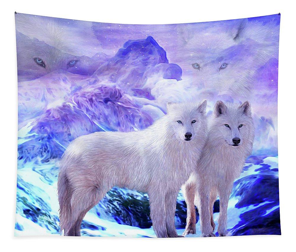 Carol Cavalaris Tapestry featuring the mixed media Arctic Wolf Mates by Carol Cavalaris
