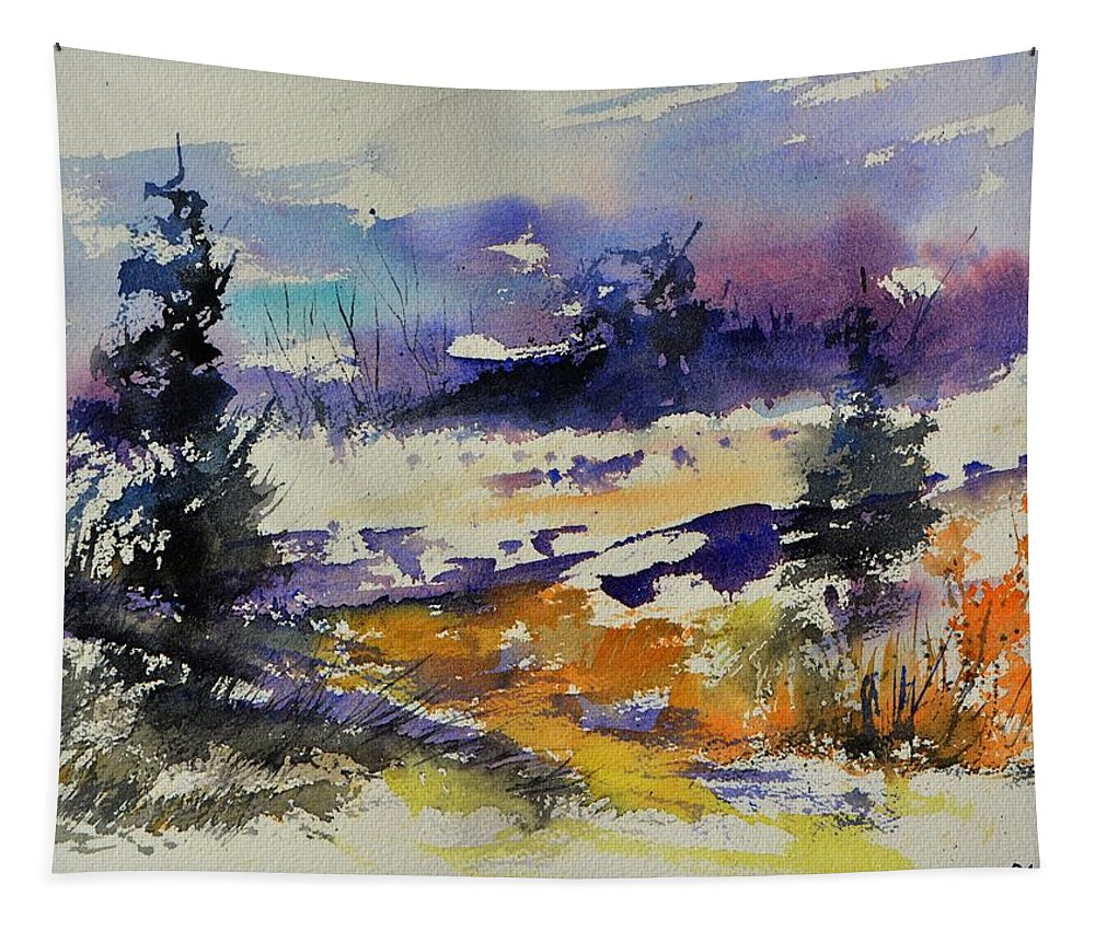 Landscape Tapestry featuring the painting Ardennes Landscape Watercolor by Pol Ledent