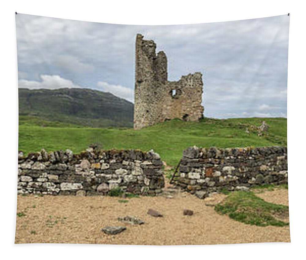 Ardvrek Tapestry featuring the photograph Ardvrek Castle Panorama 0842 by Teresa Wilson