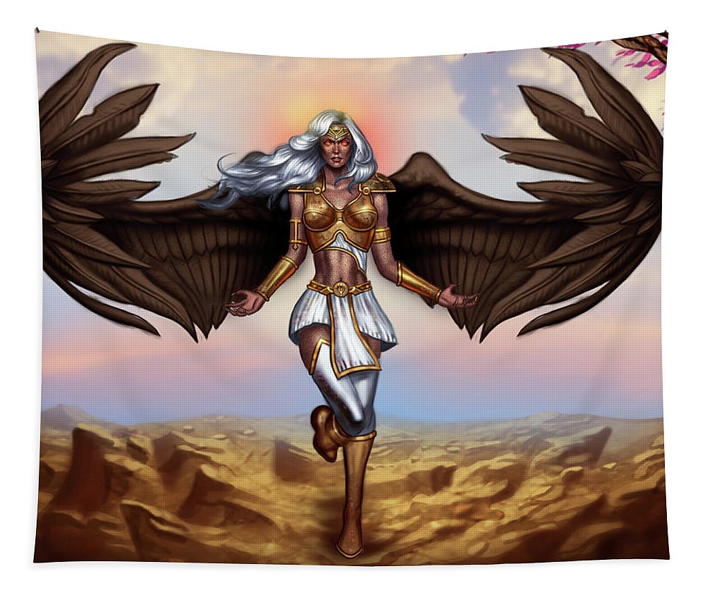 Sentinels Of Creation Tapestry featuring the digital art Ariel - Demon by Robert Ross - George Patsouras