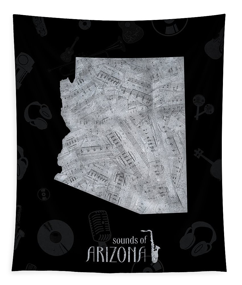 Arizona Tapestry featuring the digital art Arizona Map Music Notes 2 by Bekim Art