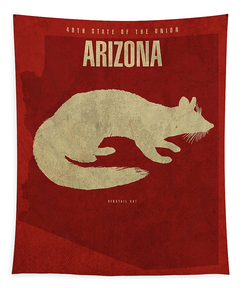 Arizona Tapestry featuring the mixed media Arizona State Facts Minimalist Movie Poster Art by Design Turnpike