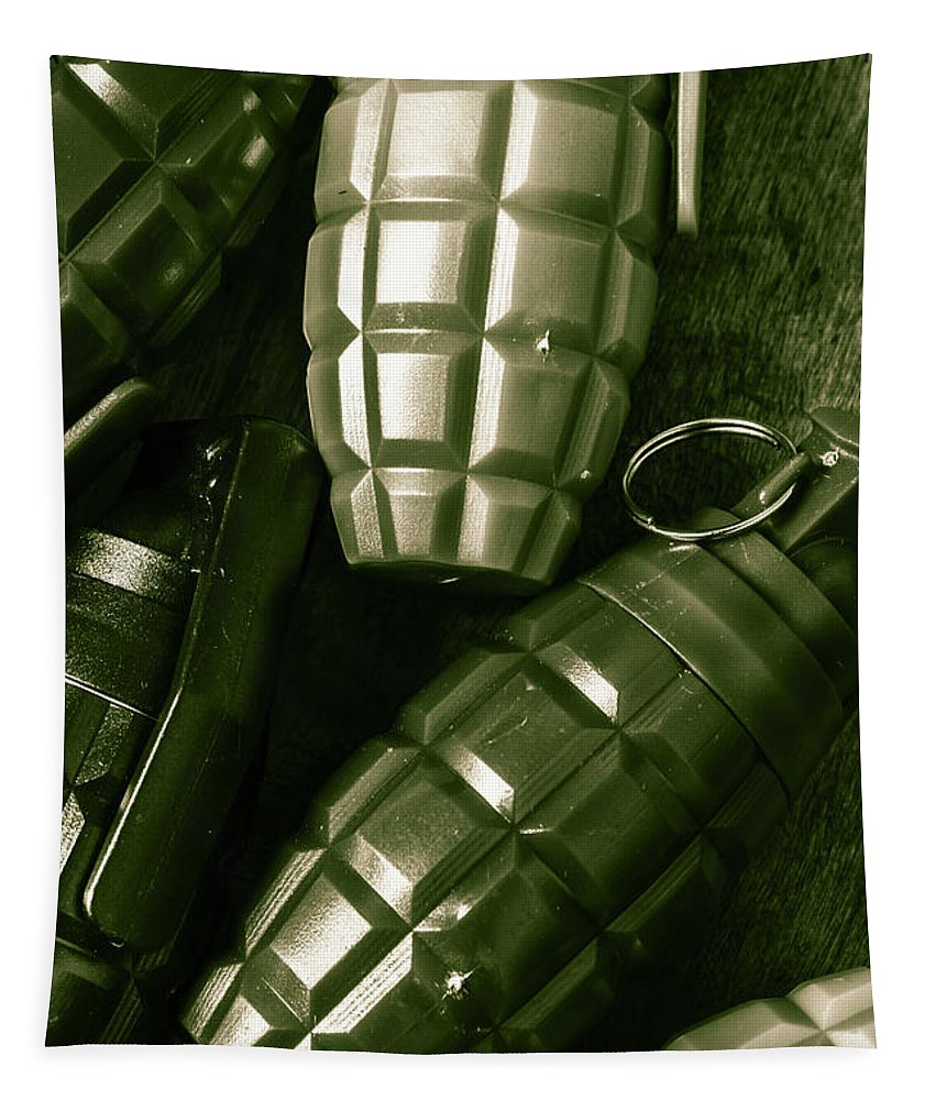 Vintage Tapestry featuring the photograph Army Green Grenades by Jorgo Photography - Wall Art Gallery