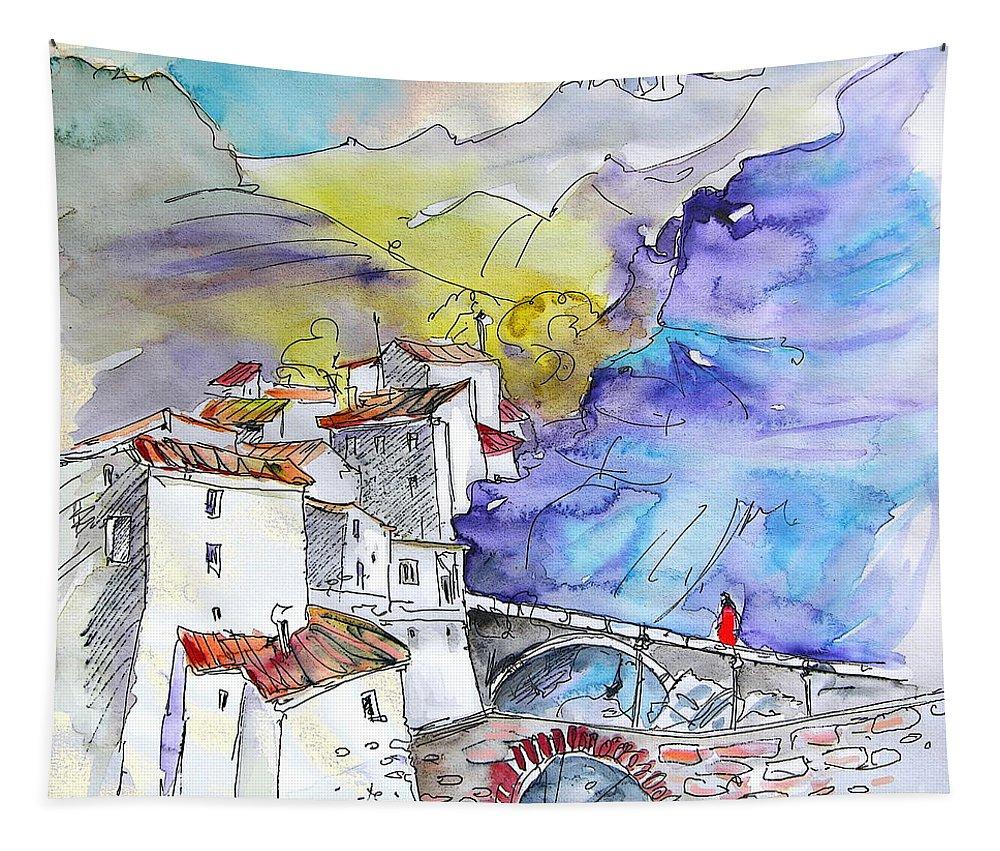 Arnedillo Tapestry featuring the painting Arnedillo In La Rioja Spain 02 by Miki De Goodaboom