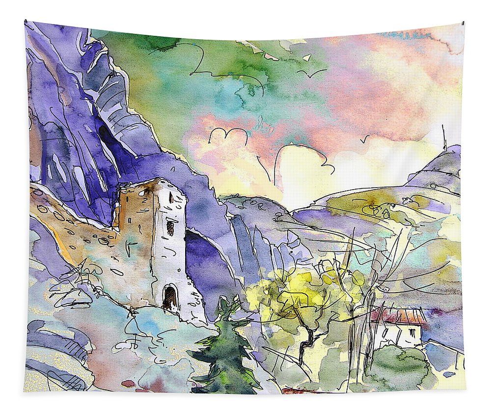 Arnedillo Tapestry featuring the painting Arnedillo In La Rioja Spain 03 by Miki De Goodaboom