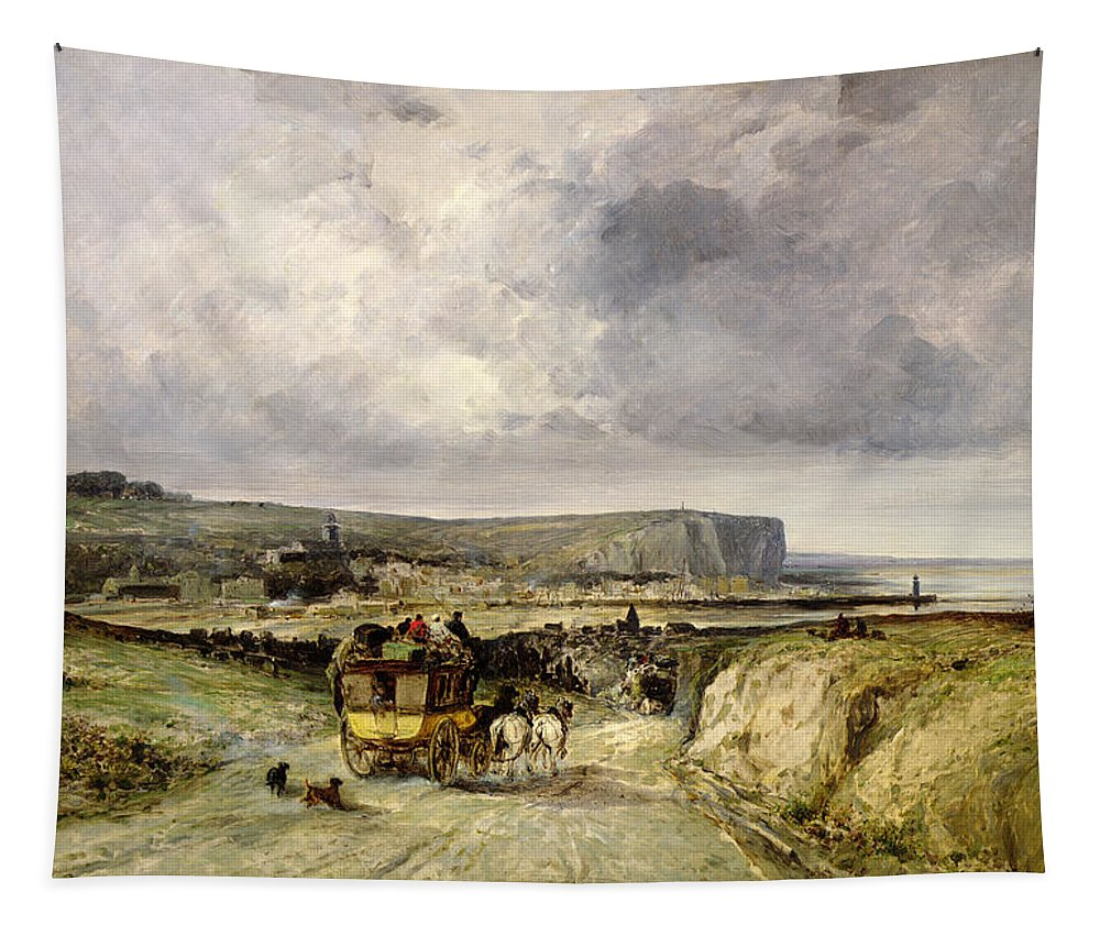 Arrival Tapestry featuring the painting Arrival Of A Stagecoach At Treport by Jules Achille Noel