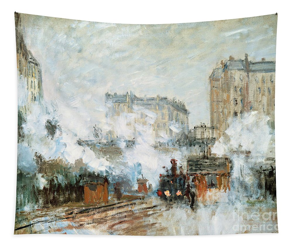 Sainte-lazare; Saint; Lazare; St; Parisian Railway Station; Steam; Train; Engine; Cityscape; Urban; Impressionist Tapestry featuring the painting Arrival Of A Train by Claude Monet