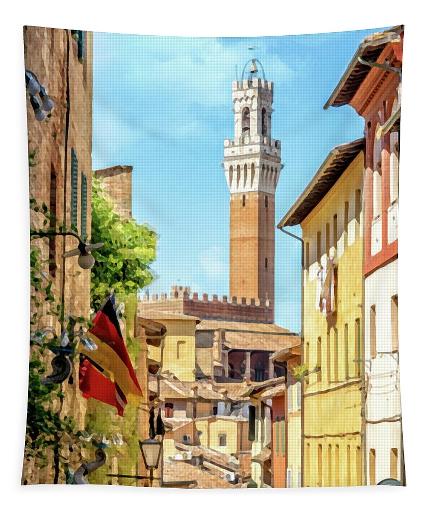 Siena Tapestry featuring the painting Arriving In Siena by Delphimages Photo Creations