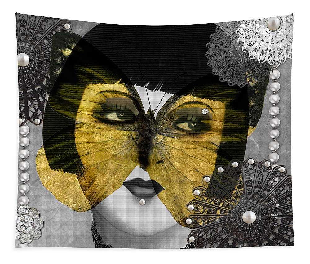 Art Deco Tapestry featuring the digital art Art Deco Butterfly Woman by Mindy Sommers