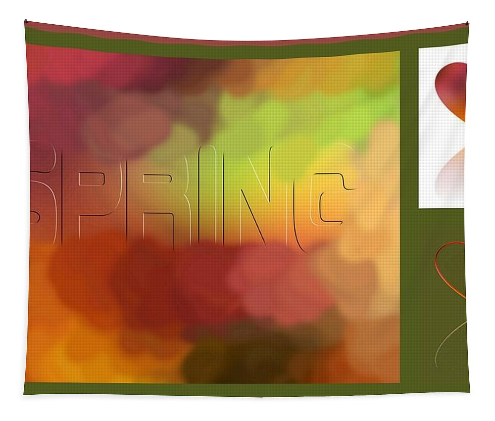 Abstract Tapestry featuring the digital art Art For Spring by Linda Galok