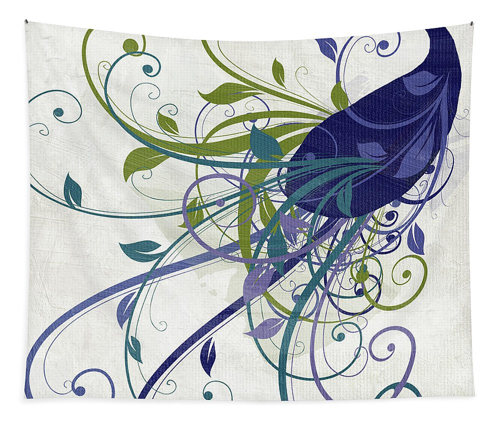 Peacock Tapestry featuring the painting Art Nouveau Peacock I by Mindy Sommers