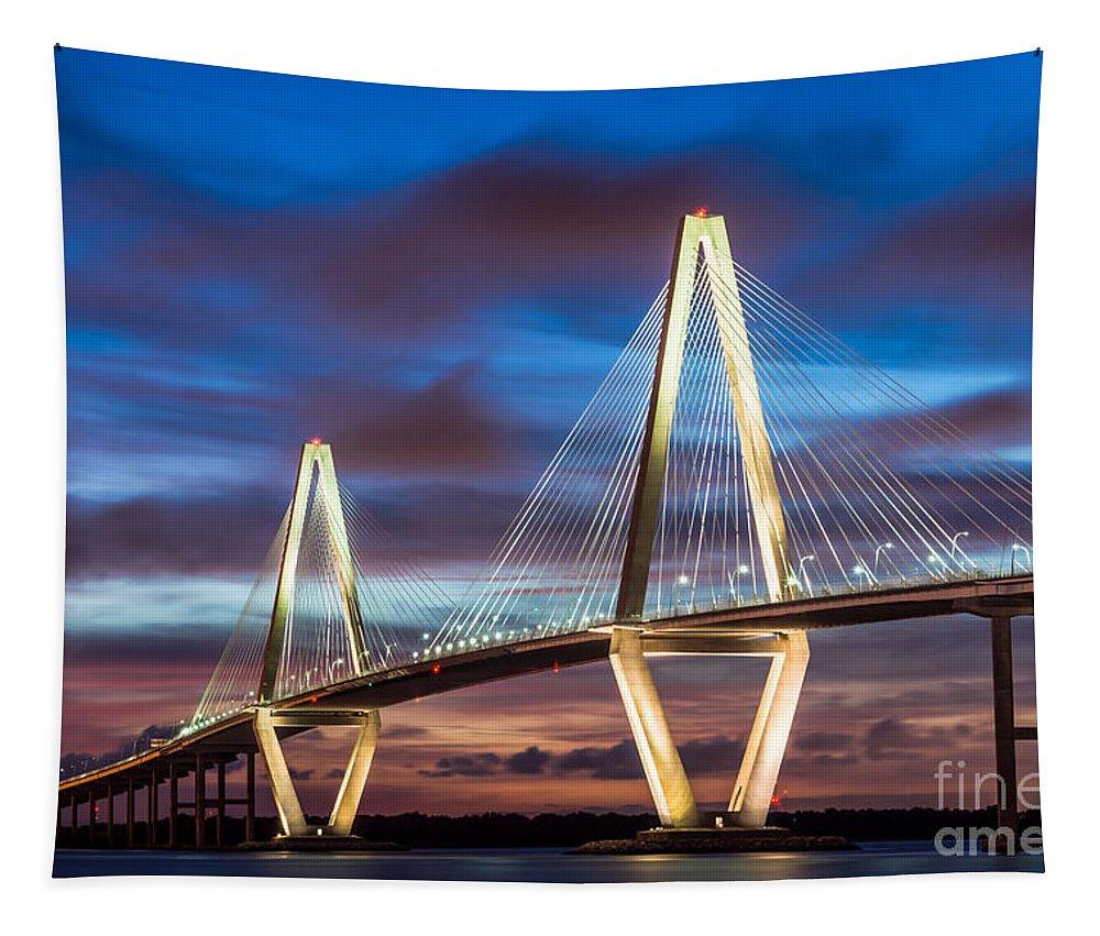 Arthur Ravenel Tapestry featuring the photograph Arthur Ravenel Bridge At Night by Jennifer White