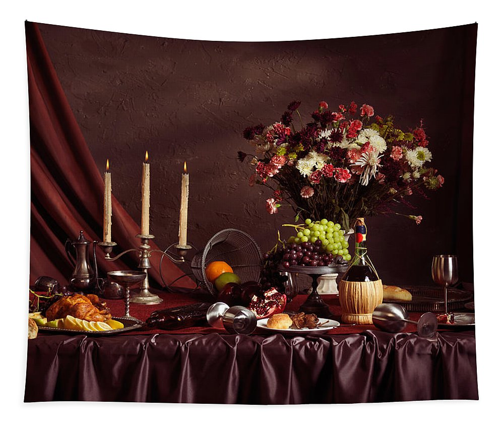 Feast Tapestry featuring the photograph Artistic Food Still Life by Oleksiy Maksymenko