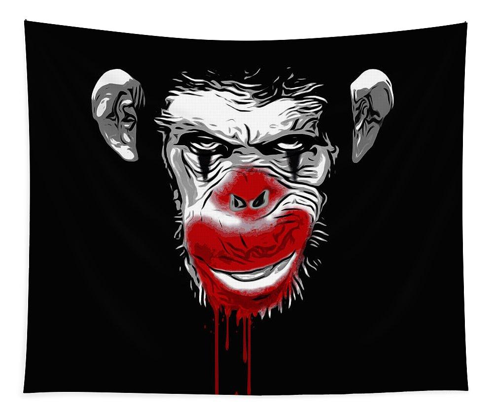 Monkey Tapestry featuring the digital art Evil Monkey Clown by Nicklas Gustafsson