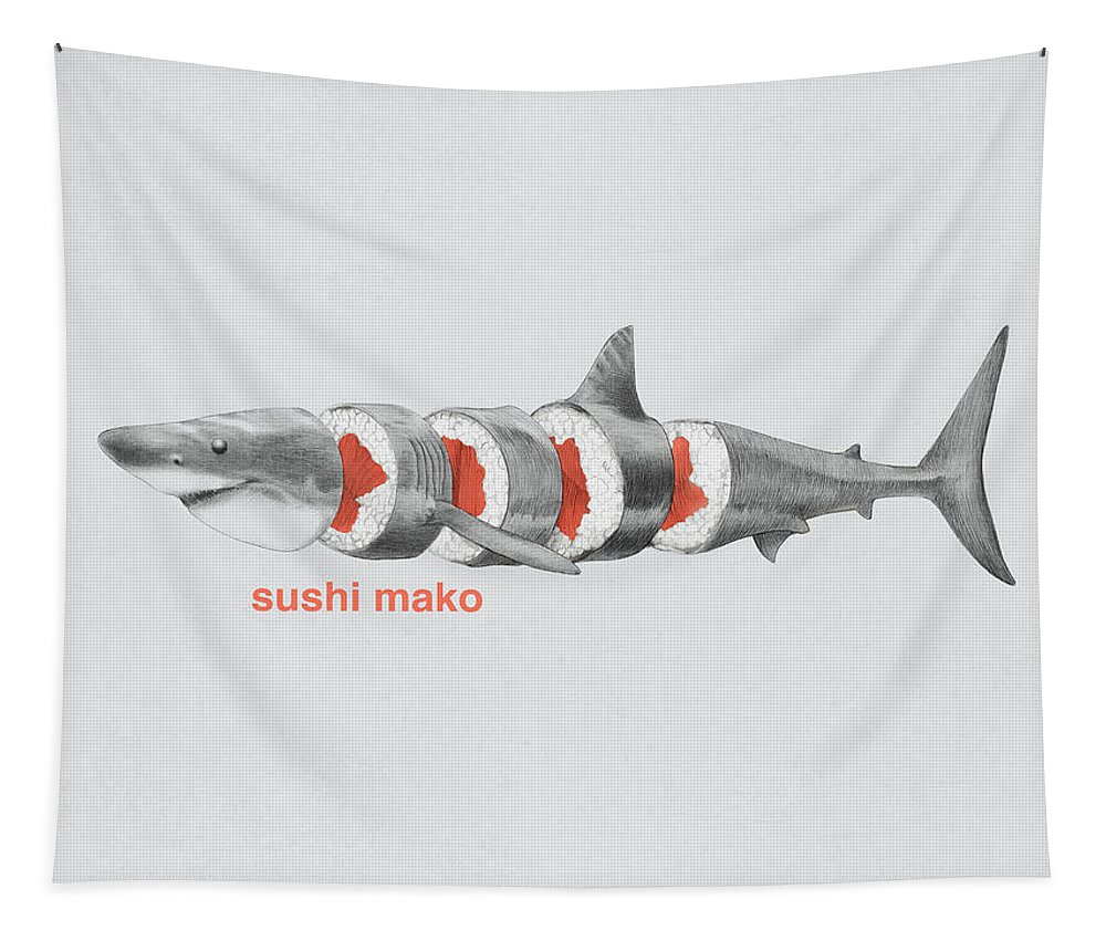 Sushi Tapestry featuring the drawing Sushi Mako by Eric Fan