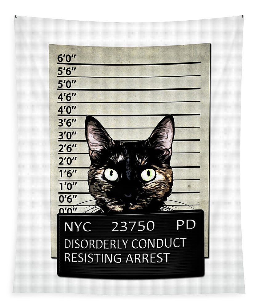 Cat Tapestry featuring the mixed media Kitty Mugshot by Nicklas Gustafsson