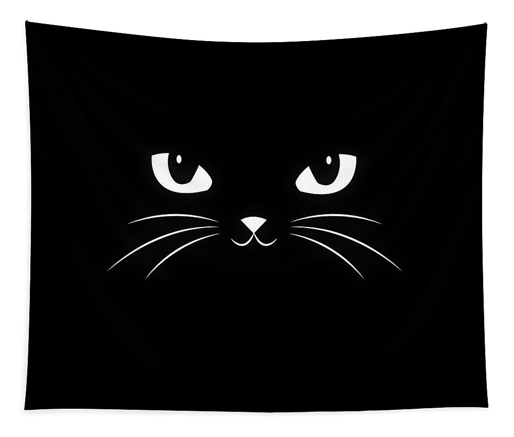 Cat Tapestry featuring the digital art Cute Black Cat by Philipp Rietz