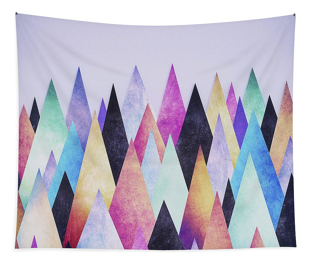 Peak Tapestry featuring the digital art Colorful Abstract Geometric Triangle Peak Woods by Philipp Rietz