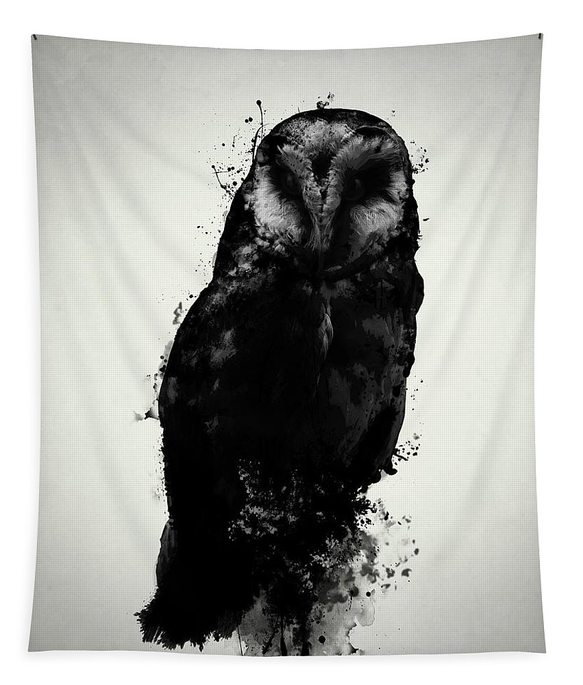 Owl Tapestry featuring the mixed media The Owl by Nicklas Gustafsson