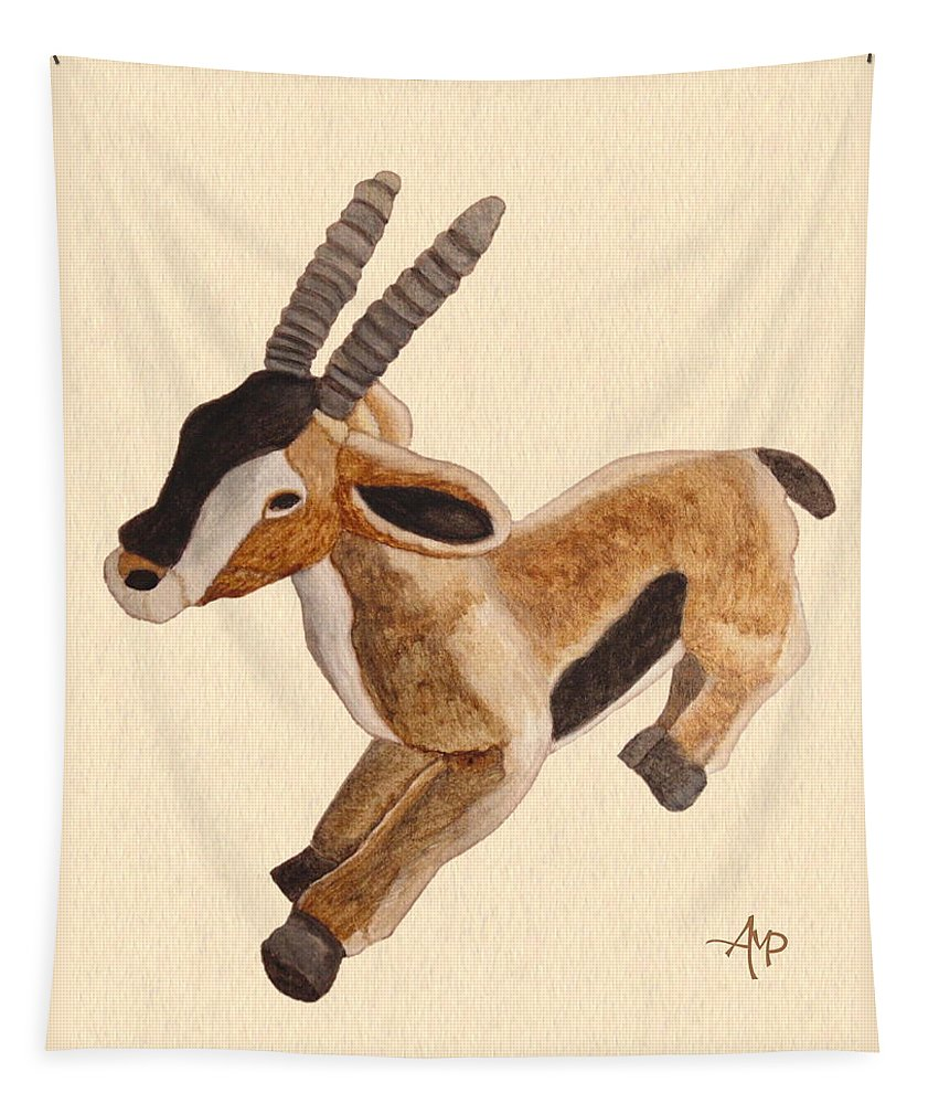 Thomson Gazelle Tapestry featuring the painting Cuddly Gazelle Watercolor by Angeles M Pomata