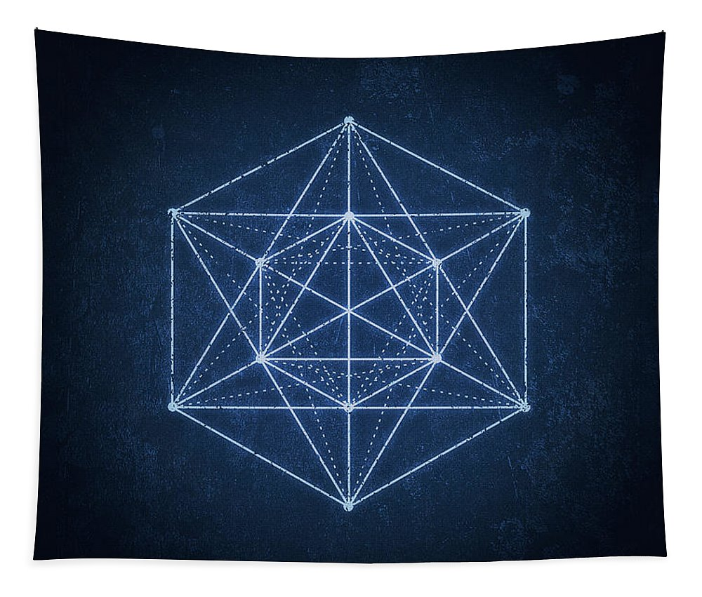 Minimal Tapestry featuring the digital art Sacred Geometry Minimal Hipster Symbol Art by Philipp Rietz